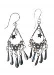 E144 diamond shape earrings with mirror drop