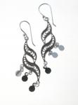 E145 Detailed swirl mirror drop earrings