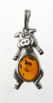 AP17 Silver Baltic Amber Pendant