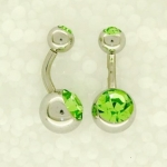 Double jewelled belly bars 6mm long
