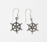 E101 Silver Ship Steering Wheel Earrings