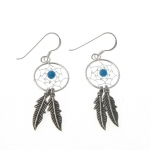 E107T Silver dreamcatcher with turquoise bead