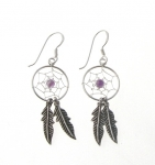 E107am Silver amethyst dreamcatcher earrings