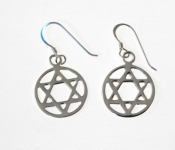 E111 Silver Star of David Earrings