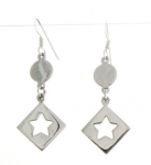 E139 Circle diamond and star earrings