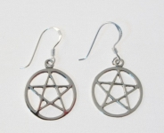 E142 Silver Pentagram Earrings