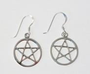 E142 Silver Pentagram Earrings