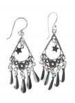 E144 diamond shape earrings with mirror drop