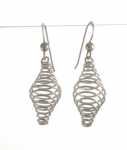 E152 Silver spiral cage Earrings