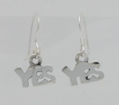 E158 Silver 'YES' Earrings