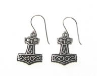 E177 Silver thors hammer earrings
