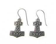 E177 Silver thors hammer earrings