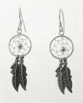 E193 Dream Catcher Feather Earrings