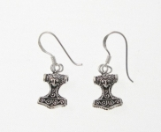 E49 Silver thors hammer earrings