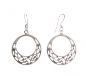 E51 Silver round celtic earrings