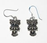 E66 Silver Owl Earrings