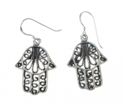 E73 Silver Hand of Fatima Earrings