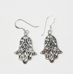 E77 Silver Hand of Fatima Earrings