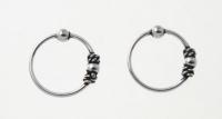 H63 silver balinese hoops