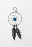 P113 Silver Dream Catcher with ball Pendant