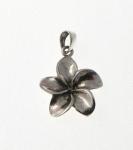 P327 Silver pulmeria flower pendant
