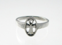 R192 Silver ankh ring