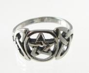R221 Silver pentagram celtic ring