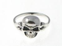 R294 Silver skull ring