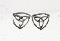 S129 Silver Celtic Triangle Studs