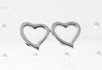 S142 Silver Heart Studs