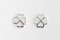 S71 Silver Clover Studs