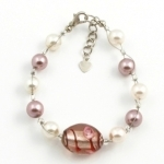 SHB4 glass and simulated pearl bracelet