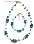 SHN7 Turquoise and freshwater pearl necklace