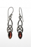 Silver Celtic Garnet Earrings