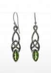 Silver Celtic Peridot Earrings