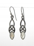 Silver Celtic Rainbow moonstone earrings
