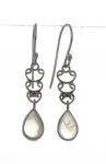 Silver Rainbow moonstone earrings
