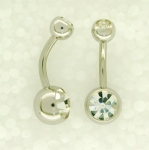 double jewelled belly bars 10mm long